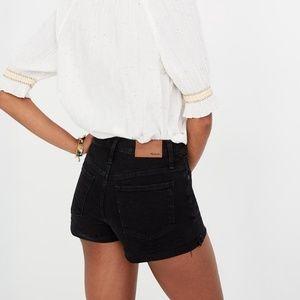 Madewell high rise button through denim shorts